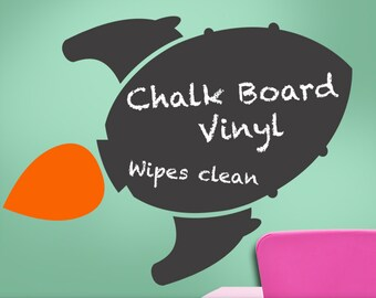 Chalkboard Rocket Ship Vinyl Wall Decal, Boys, Girls, Teens, Toddler, Kitchen Decor, Blackboard, Chalk board, Science Fiction, Outer Space