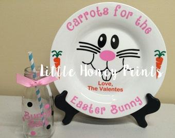Easter Bunny Plate and Bunny Bait Jug set/Carrots for the easter bunny/Personalized Easter Plate and Jug