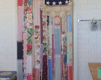 Shabby cottage Chic American flag folk art Americana Patriotic Farmhouse Large wall tapestry