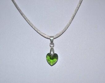 green crystal heart pendant