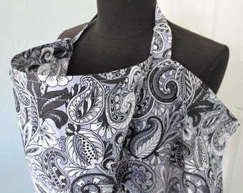 Nursing Cover - Gray and Black Floral