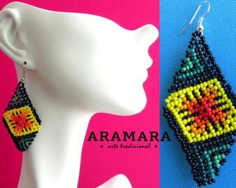 Huichol Earrings, Mexican earrings, Mexican Jewelry, Mexican folk art, Boho earrings, Native american earrings, Native Jewelry, AO-0026
