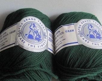 2 balls of forrest green wool yarn destash