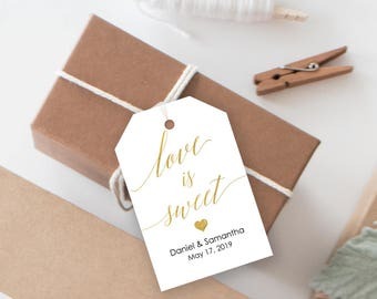 Gold Love is Sweet Printable Tag - DIY Template - Editable PDF - Instant Download - Wedding favor tag - Dessert Tag  - 2x3 Inches - #GD3408