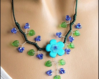 Blue and green floral jewelry set