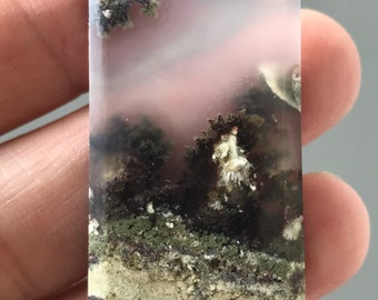 Beautiful Scenic Moss Agate Stone 21 x 33 mm
