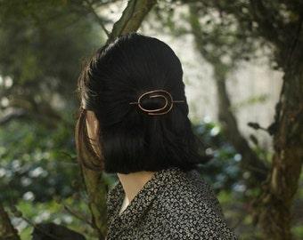 Spiral rustic copper hair slide hammered metal hair barrette hair stick barrette minimalist hair accessories hair clip hair jewelry for her