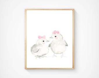 Nursery chicks print -  Nursery Art -  farm nursery - Nursery Decor - Kids Wall Art - Woodlands nursery art, kids poster, watercolor chick,