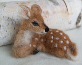 Needle Felted Deer Fawn, Curled Up, Laying Down, Soft Alpaca and Wool, Nature Decor