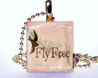 Scrabble Tile Pendant with chain - Fly Free