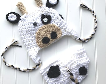 Crochet cow hat, crochet baby cow hat, cow hat and diaper cover, baby cow beanie, baby cow  hat, newborn cow hat.