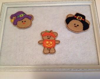 Fall Teddy Felties, Pumpkin Teddy, Witch Teddy, Pilgrim Teddy  Always Precut