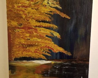 Large acrylic landscape painting tree, river, outdoors, fall, Autumn