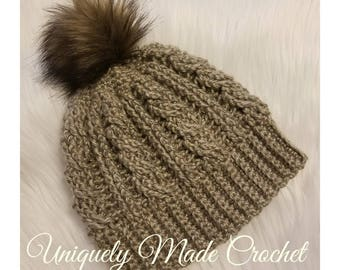 Women's Cabled Crochet Hat