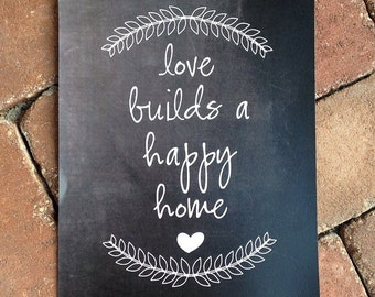 Love Builds A Happy Home Chalkboard Printable - Personalized Chalkboard Sign