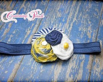 Yellow, Navy, White Fabric Flower Headband, Hair Accessory, Flower Hair Piece, Mustard, Blue Flower Hair Bow, Baby Girl, Hair Clip, Brooch