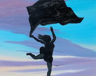original yoga painting omwoman yoga meditate. Woman In The Sky, Original Painting On Wood Panel, Figure Art Dancer Sunset Silhouette Yoga Omwoman Meditate G