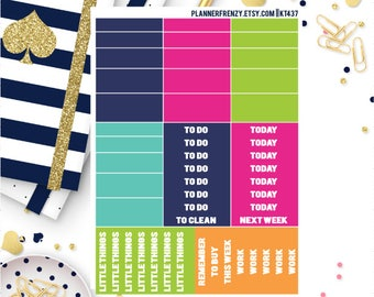 """Brighter Days Collection """"Washi"""" and Section Header Planner Stickers! KT437"""