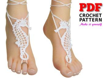 Barefoot sandals, crochet pattern, barefoot sandals wedding, bridesmaid gift, barefoot shoes, SEAHORSE Sandals, beach wedding shoes, crochet