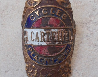 Antique plated bike Cycles j Cartelier bicycle bike Headbadges France