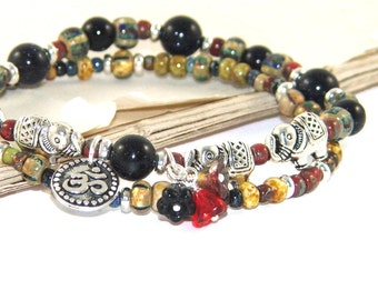 Elephant Totem Bracelet Set, Om & Flower Symbols, Stretch Bracelets