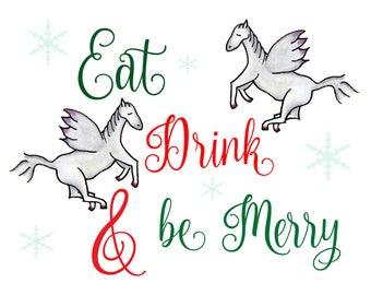 DOWNLOAD Printable Christmas Cards Original Hand Drawn Pegasus Merry Holiday Snowflakes DIY Sheet pdf