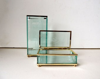 Cut Etched Glass and Brass  Box and Container