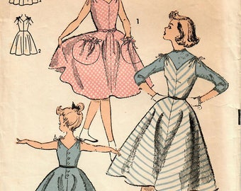 1950s Advance 6610 Vintage Sewing Pattern Girls Party Dress, Sundress, Jumper Size 8