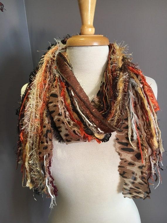 Fringie in Bling Cheetah, All Fringe Scarf, animal print fringe scarf, fur, fringe fashion, Boho scarf, gypsy scarf, costume jewelry