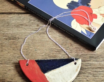 Geometric half moon ceramic necklace. Handmade clay statement jewellery in art deco 1920s style.Semi circle.Red,white and blue. Mothers' day