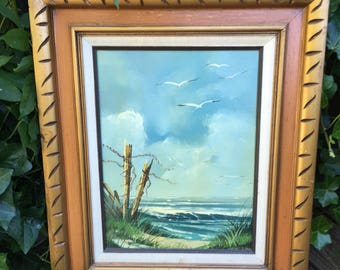 Very Nice Original Signed Oil Painting Beach Scene with Seagulls and Waves.