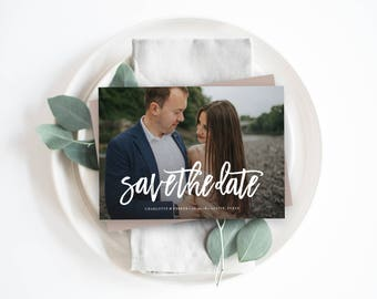 Editable Template - Instant Download Brushed Save the Date Photo Card Announcement