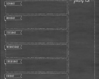 Meal planner, Menu Board, Weekly Menu, Weekly Meal Planner, Chalkboard Menu, Dinner Board, Menu, Dry erase Menu, Dinner Planner #1847