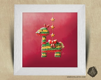 25 x 25 birth gift with Illustration Lama piñata boy room square frame