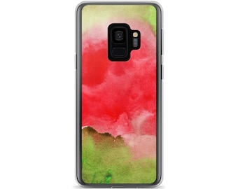 Watercolor Abstract Watermelon Samsung Galaxy Cell Phone Case S9, S9 Plus, S8, S8 Plus, S7, S7 Edge Red Pink Green Hand Painted