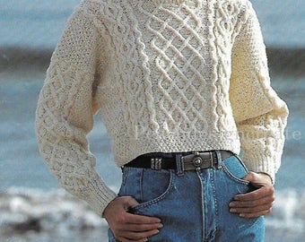 PDF knitting pattern, women's ladies, aran cable knit crop top/sweater, instant download, digital download