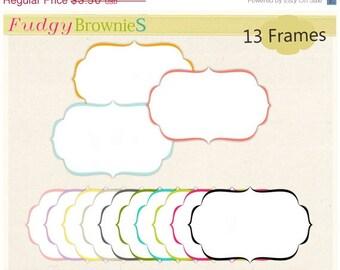ON SALE Digital Frame _ Square Frames Clip art, white background frame, digital scrapbooking frames.A-70 , Instant download