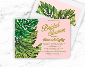 Bridal Shower invitation Digital DIY PRINTABLE File gold blush pink fern palm greens boho bohemian chic modern elegant unique Summer 020