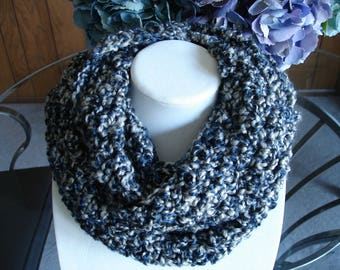 Navy/Gray Cowl Scarf, Infinity Scarf, Crocheted Scarf, Winter Scarf