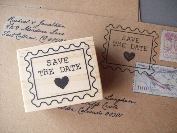 Save the Date Stamp, Postage Style with Heart, Weddings Envelopes Vintage Typewriter