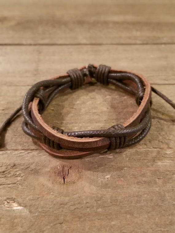 Brown Leather Weaved Bracelet Native American Style Fashion Cuff Boho Hippie (B70)