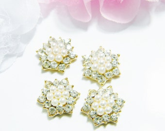 17mm Gold Metal Crystal Clear Glass Rhinestone Flatback Button Embellishments Round DIY Flower Hairbow Centers e66ne 4 Pieces