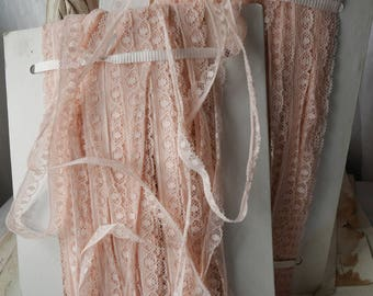 Antique Wedding Lace, Vintage Lace Trim. Pink Cotton Lace Edging Trim. Crafts Sewing Supplies 4m Dolls Bear & Ballet /Old new stock!!