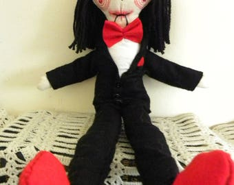Handmade rag doll, collectors doll, ooak doll, unique doll, horror doll, saw doll, jigsaw doll, Lets play a game  Billy from the Saw films,