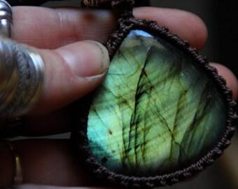 SALES !!!Labradorite Leather Necklace - Tribal - Ethnic - Boho - Gypsy - Original - Gems - Travelling - Tribal Fusion -Pixies-Fairy -Reflect