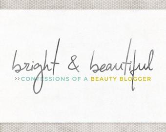 Premade Logo Design | Photography Logo | Blog Branding | Simple Logo Design | Watercolor Blog Logo | Blue and Yellow | Mint and Gray