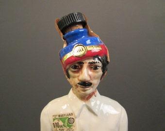 ON SALE!...Vintage India Man Decanter, Garnier Creme De Menthe