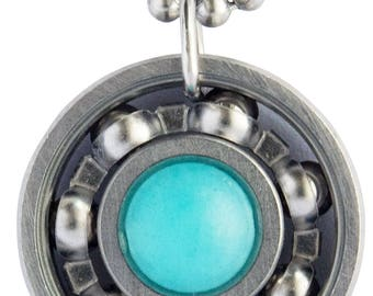 Light Blue Jade Roller Derby Skate Bearing Pendant Necklace