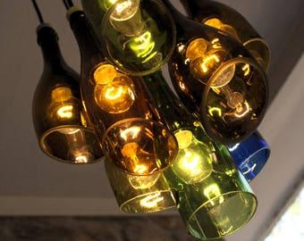 9 light Wine Bottle Chandelier