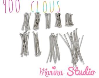 900 silver metal (ms04117) flat head nails